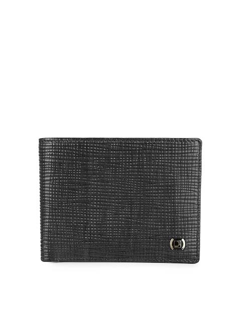 Da Milano Men Black Textured Leather Two-Fold Wallet
