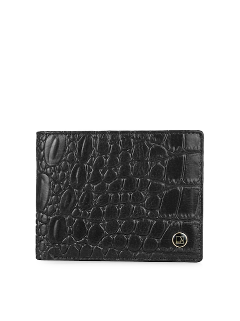 Da Milano Men Black Croc-Textured Leather Two-Fold Wallet