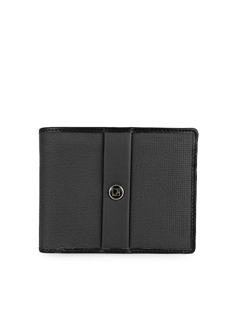 Da Milano Men Black Solid Leather Two Fold Wallet