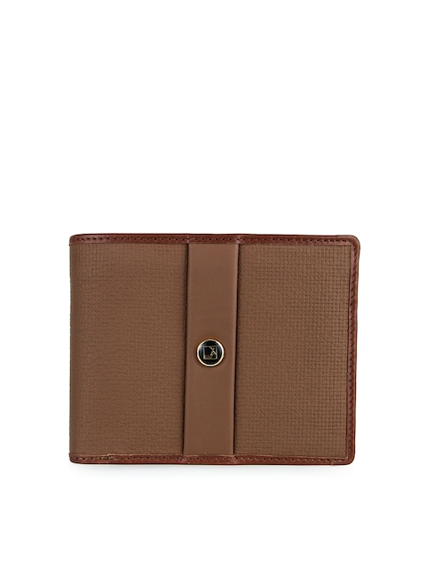 Da Milano Men Brown Solid Leather Two Fold Wallet