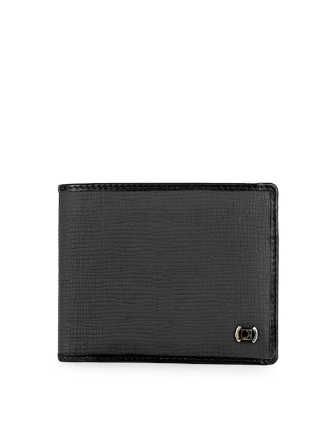 Da Milano Men Black Textured Leather Two Fold Wallet