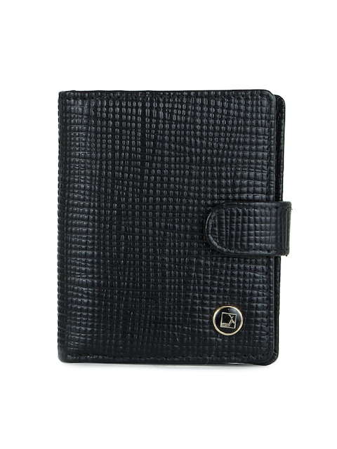 Da Milano Men Black Textured Leather Card Holder