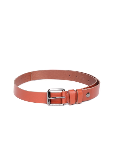 United Colors of Benetton Men Brown Solid Leather Belt