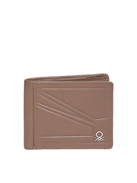 United Colors of Benetton Men Brown Textured Leather Two Fold Wallet