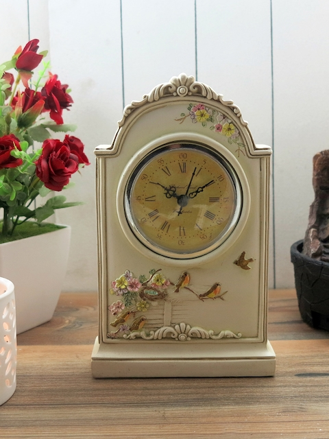 Importwala Beige Dial Vintage Analogue Table Clock
