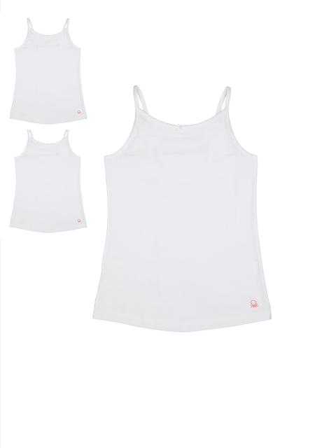 United Colors of Benetton Girls Pack of 3 White Camisoles KG05I-904