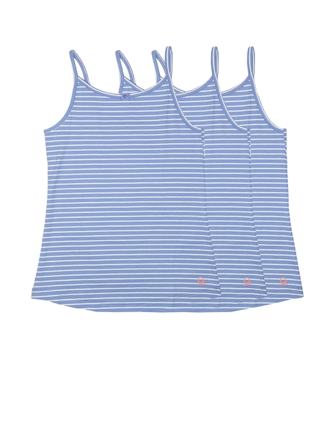 United Colors of Benetton Girls Pack of 3 Blue Striped Camisoles KG06I-902