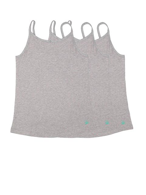 United Colors of Benetton Girls Pack of 3 Grey Melange Printed Camisoles KG07I-903