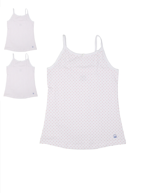 United Colors of Benetton Girls Pack of 3 White Printed Camisoles KG07I-904