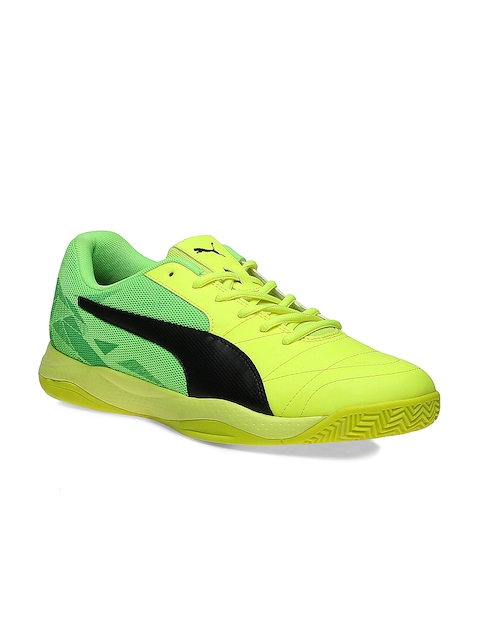 Puma Men Yellow & Fluorescent Green Veloz Indoor III Badminton Shoes