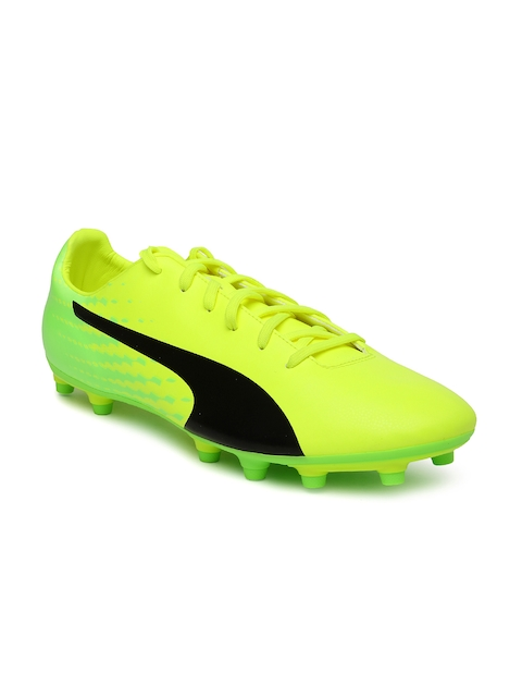 Puma Men Yellow Fluorescent Green evoSPEED 17.5 FG Football Shoes