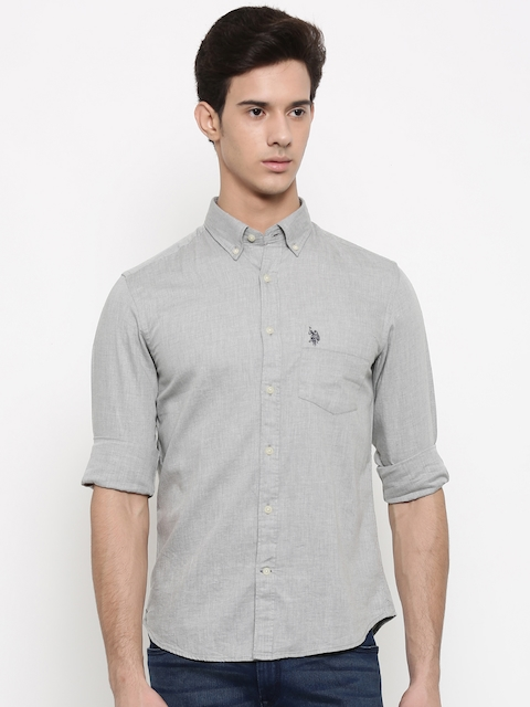 U.S. Polo Assn. Men Grey Solid Casual Shirt