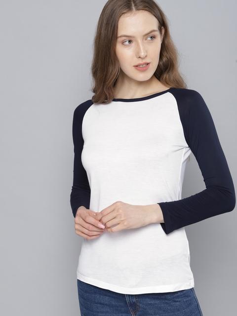 Tokyo Talkies Women White Solid Round Neck T-shirt