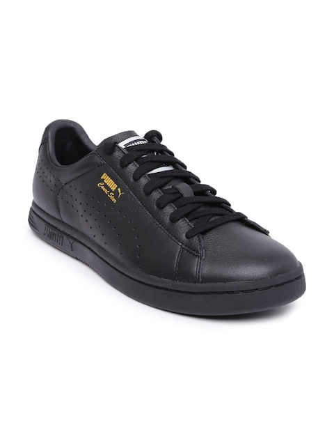 Puma Men Black Leather Court Star Sneakers
