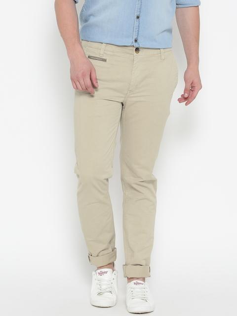 Roadster Men Beige Solid Casual Trousers