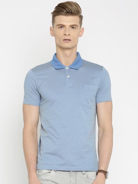 Arrow Men Blue Self Design Polo T-shirt