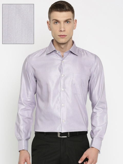 Arrow Men Grey & Red Self Design Regular Fit Formal Shirt
