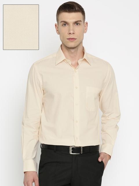 Arrow Men Cream-Coloured Checked Regular Fit Formal Shirt