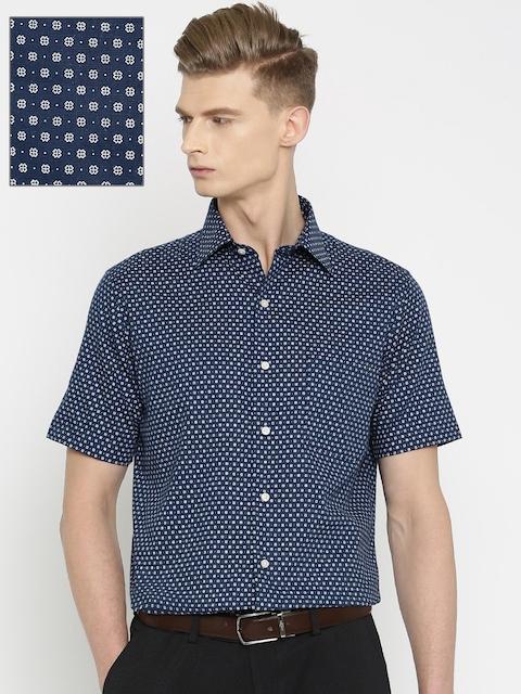 Arrow Men Navy Blue Printed Regular Fit Formal Shirt