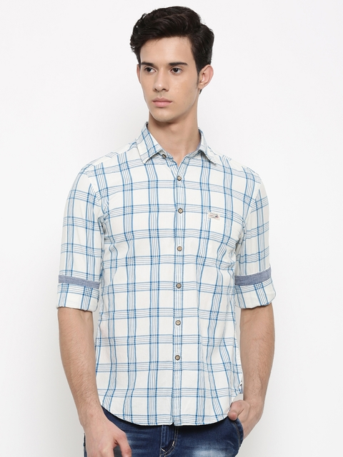 U.S. Polo Assn. Denim Co. Men Off-White & Blue Regular Fit Checked Casual Shirt