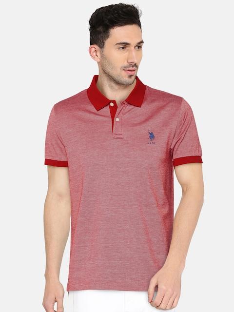 U.S. Polo Assn. Men Red Self Design Polo Collar T-shirt
