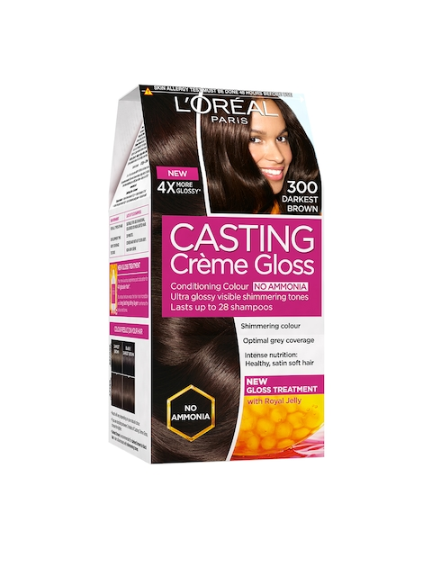 Loreal Paris Casting Creme Gloss Hair Color - Darkest Brown 300, 87.5gm + 72ml