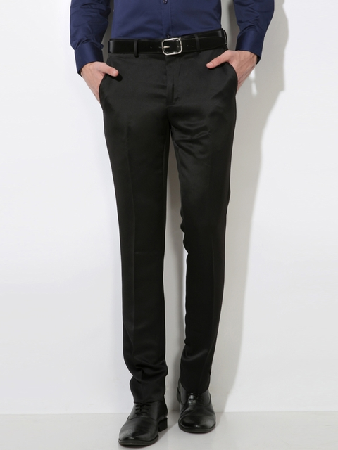 V Dot by Van Heusen Men Black Skinny Fit Solid Formal Trousers