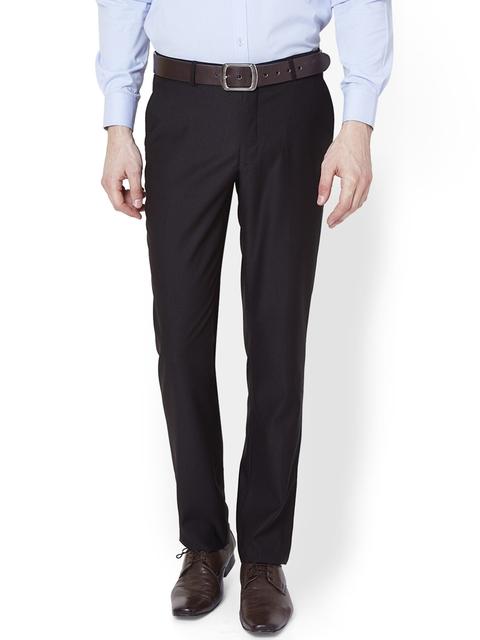 V Dot by Van Heusen Men Black Slim Fit Solid Formal Trousers