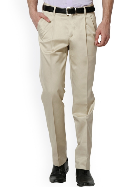 Van Heusen Men Beige Regular Fit Solid Formal Trousers