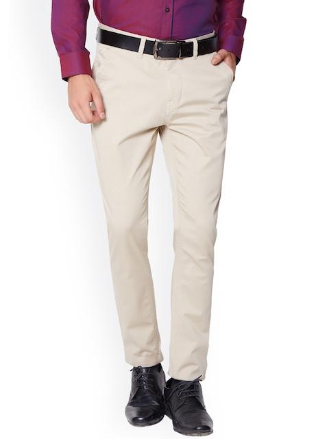 Van Heusen Sport Men Beige Slim Fit Solid Formal Trousers