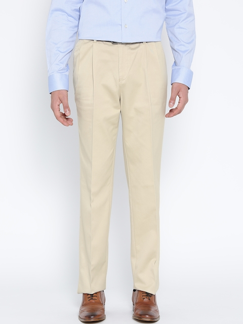 Blackberrys Men Cream-Coloured Smart Fit Solid Formal Trousers