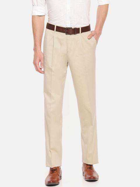 Blackberrys Men Beige Sharp Regular Fit Solid Trousers