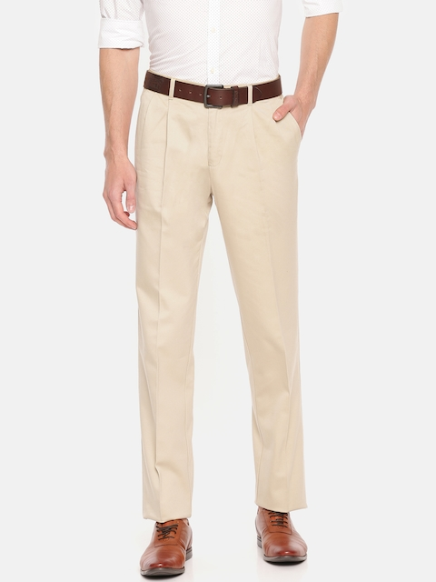 Blackberrys Men Beige Sharp Regular Fit Solid Trousers