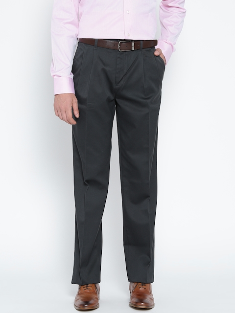 Blackberrys Men Charcoal Grey Sharp Fit Solid Formal Trousers