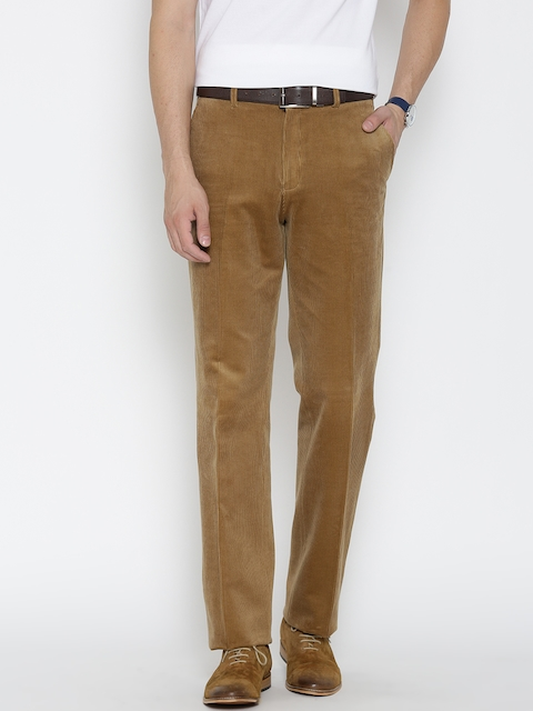Blackberrys Men Khaki Solid Corduroy Trousers
