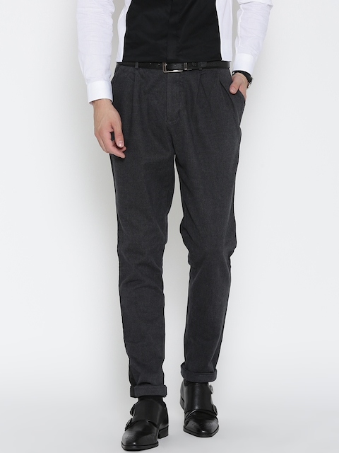 Blackberrys Men Charcoal Grey Solid Drop Crotch Trousers