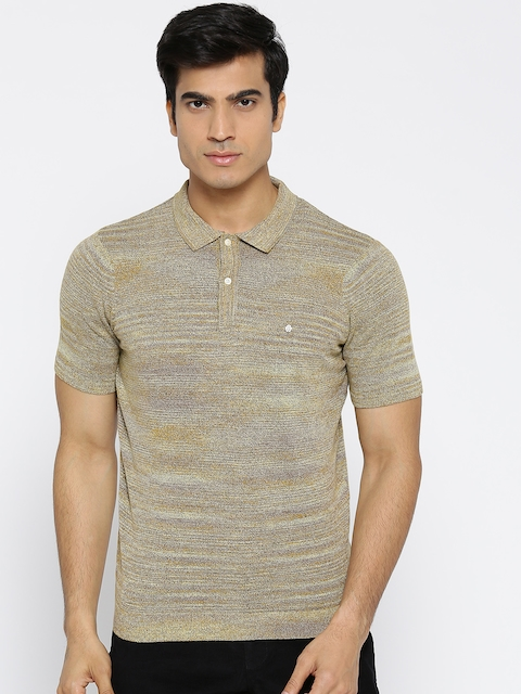 Blackberrys Men Beige Self Design Polo Collar T-shirt