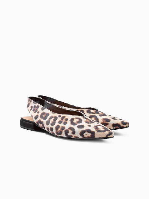 next Women Beige Animal Print Ballerinas