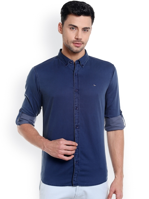 SPYKAR Men Navy Slim Fit Solid Casual Shirt