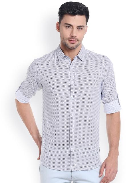 SPYKAR Men Off-White & Black Slim Fit Printed Casual Shirt