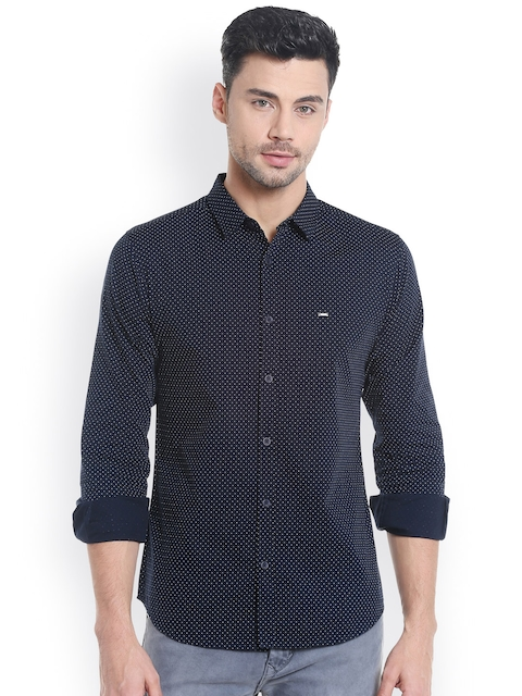 SPYKAR Men Navy & White Slim Fit Printed Casual Shirt