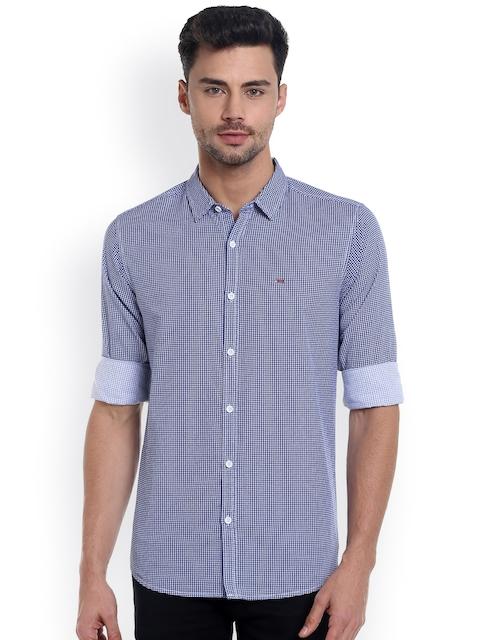 SPYKAR Men Navy & White Slim Fit Printed Casual Shirt