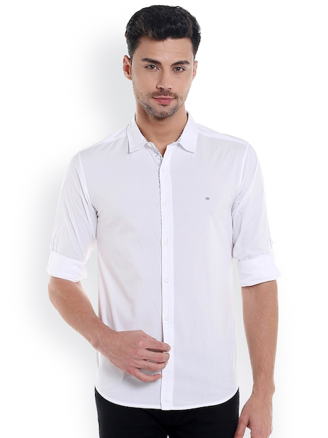 SPYKAR Men White Slim Fit Solid Casual Shirt