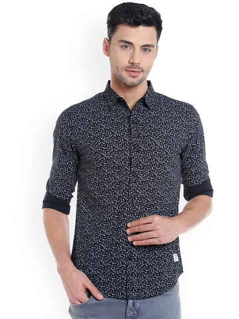 SPYKAR Men Grey Slim Fit Printed Casual Shirt
