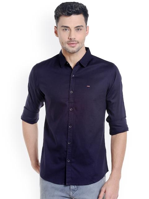 SPYKAR Men Navy Blue Slim Fit Solid Casual Shirt