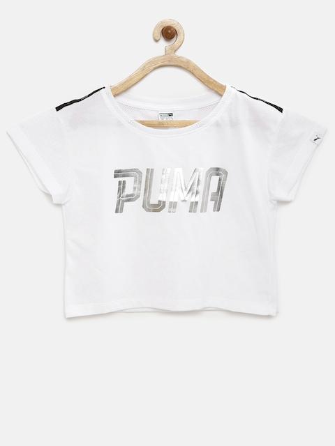 PUMA Girls White Printed T-Shirt