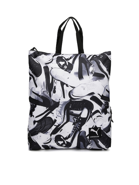 PUMA Unisex White & Black Printed Academy II Backpack