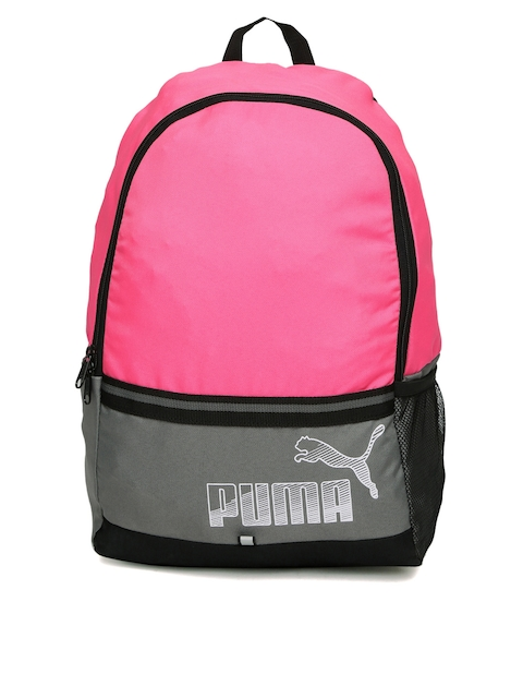 PUMA Women Pink & Grey Colourblocked Phase II Backpack  available at myntra for Rs.699