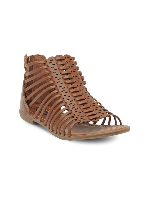 Flat n Heels Women Tan Brown Solid Gladiators