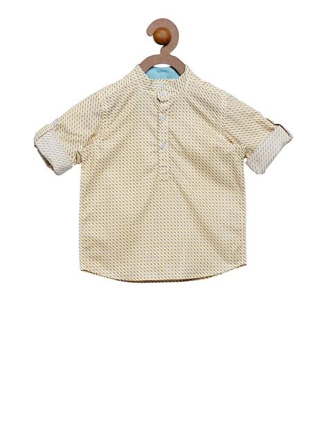 Campana Boys Yellow Classic Regular Fit Printed Casual Shirt